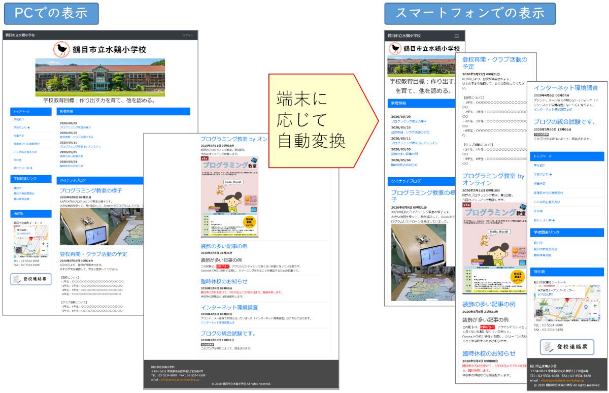 学校ホームページの構築及びサーバやシステムの運用を行うクラウド・サービス:PC・スマートフォン表示